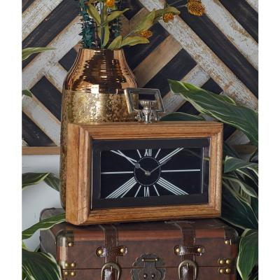 Oak Brown and Silver Table Clock