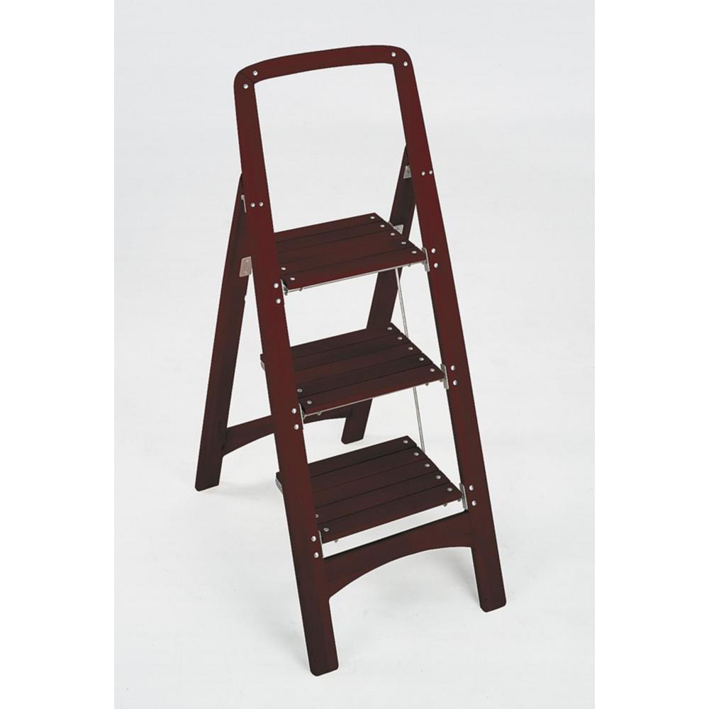 Cosco Rockford 3 Step Mahogany Wood Stool Ladder With 225 Lb Load Capacity