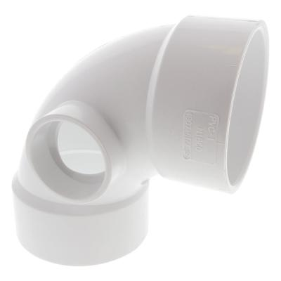 3 in. x 3 in. x 1-1/2 in. PVC DWV 90-Degree Hub x Hub x Hub Elbow with Side Inlet