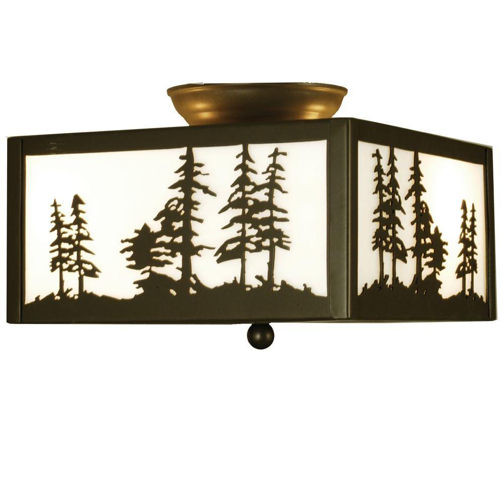 Illumine 2 Tall Pines Flushmount Timeless Bronze Finish