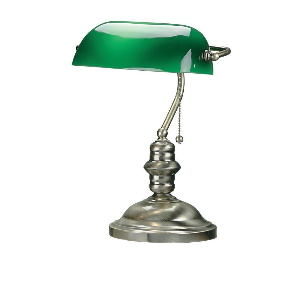 Illumine Designer 15 in. Antique Brass Desk Lamp