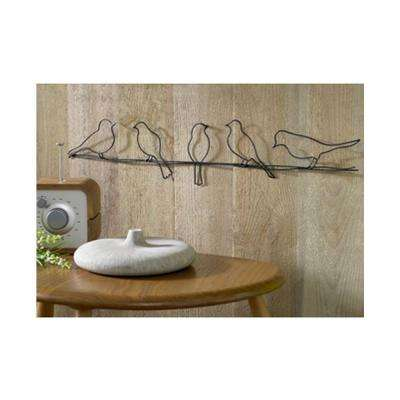 "24 in. x 5 in. ""Bird On A Wire"" by Graham and Brown Metal Wall Art"