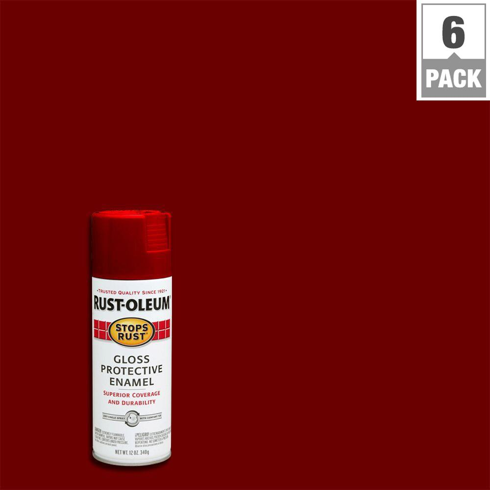 Rust-Oleum Stops Rust 12 oz. Protective Enamel Gloss Sunrise Red Spray Paint (6-Pack)