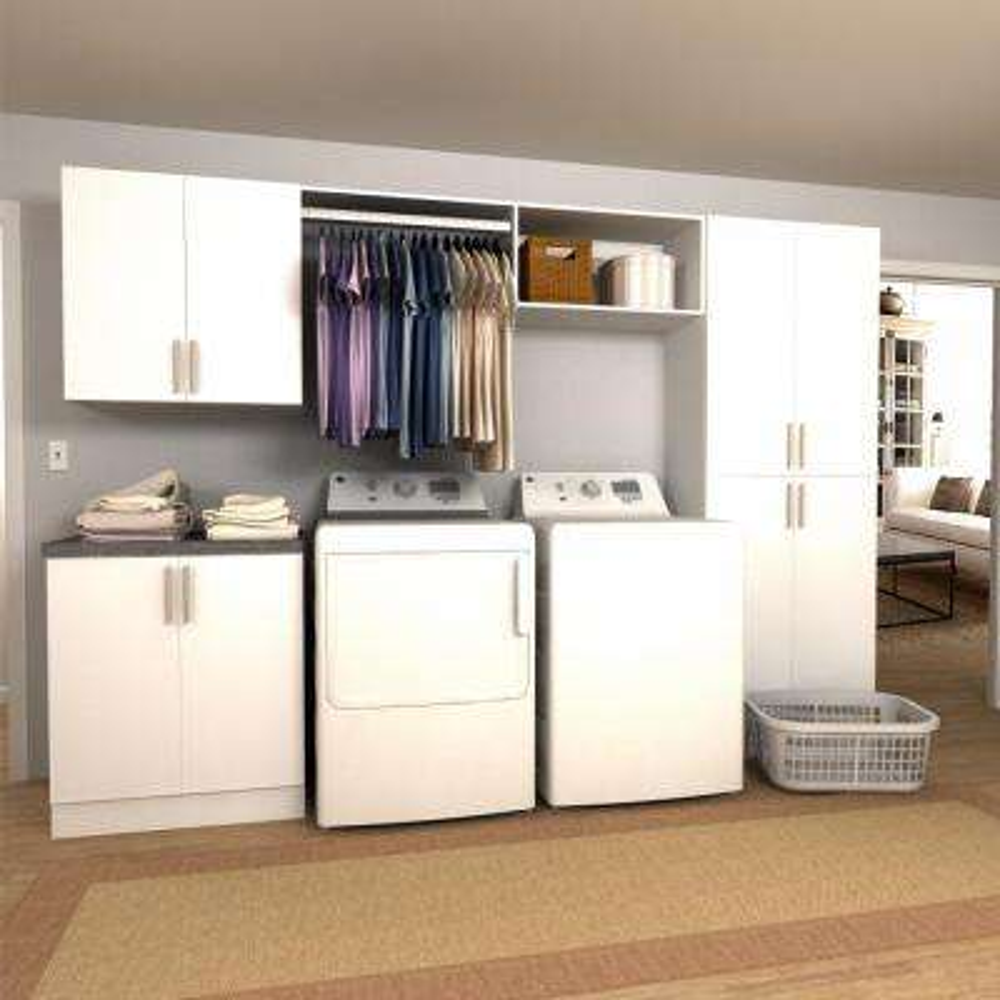 Attirant W White Hanging Rod Laundry Cabinet Kit