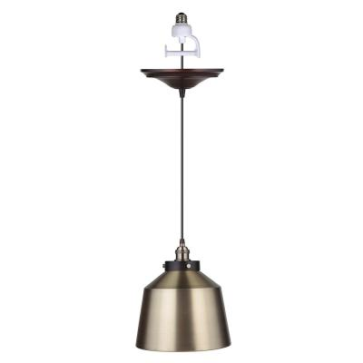 Worth Home Products Instant Pendant 1-Light Recessed Light Conversion Kit Brushed Bronze and Brushed Brass Metal Dome Shade