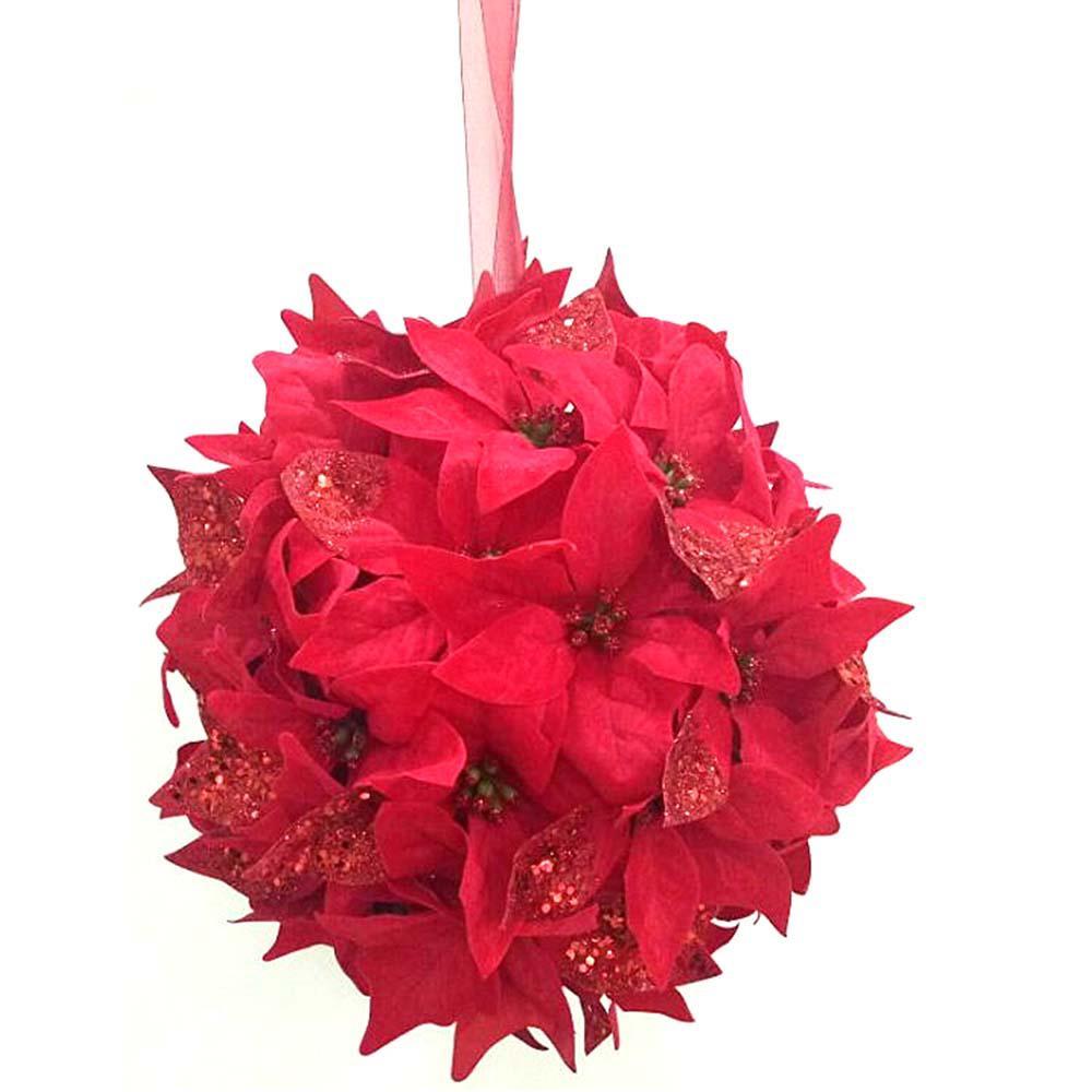12 in. Unlit Velvet Poinsettia Kissing Ball Hanging Arrangement in Red