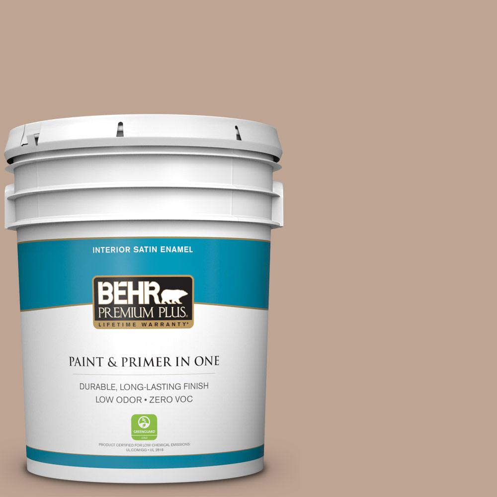 BEHR Premium Plus 5-gal. #700D-4 Brown Teepee Zero VOC Satin Enamel Interior Paint