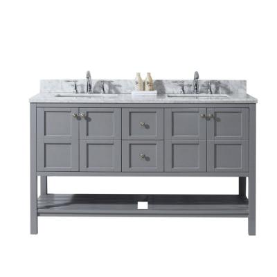 Virtu USA Winterfell 60 in. W Double Bath Vanity in Grey with Marble Vanity Top and Square Basin with Faucet