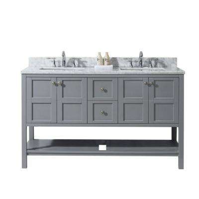 Winterfell 60 in. W Double Bath Vanity in Grey with Marble Vanity Top and Square Basin with Faucet