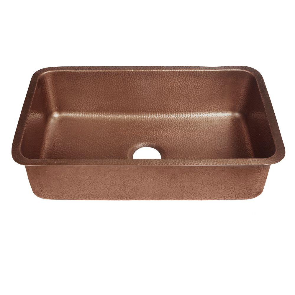 Sinkology Orwell Undermount Handmade Solid Copper 30 In Single Bowl Kitchen Sink Antique