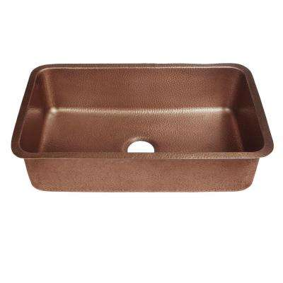 Orwell Undermount Handmade Solid Copper 30 in. Single Bowl Kitchen Sink in Antique Copper