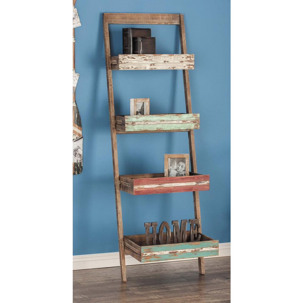 18 in. L x 23 in. W Rustic Distressed Wood 5-Tier Leaning Shelf ...