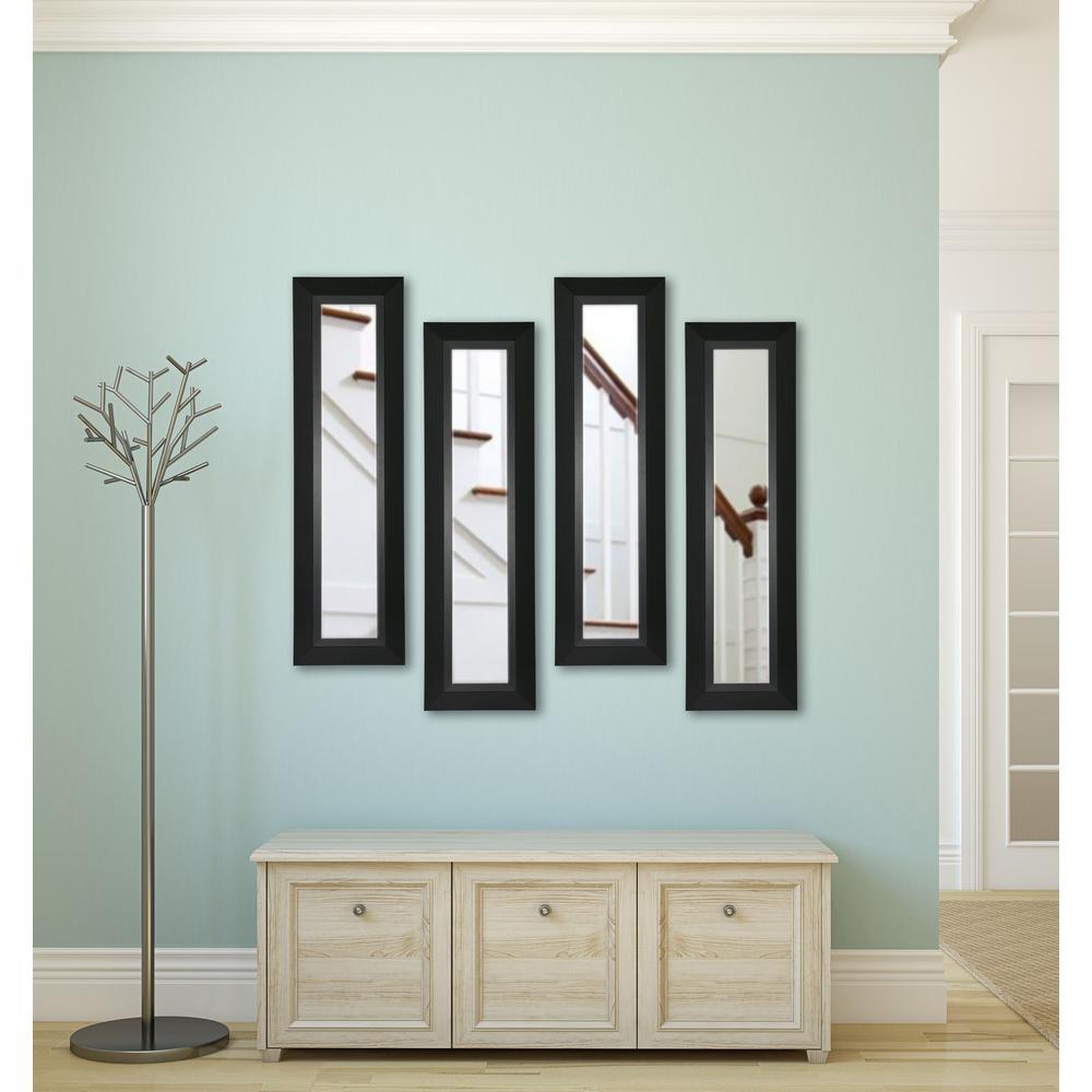 11 inch x 32 inch Attractive Matte Black Vanity Mirror (Set of 4-Panels) by