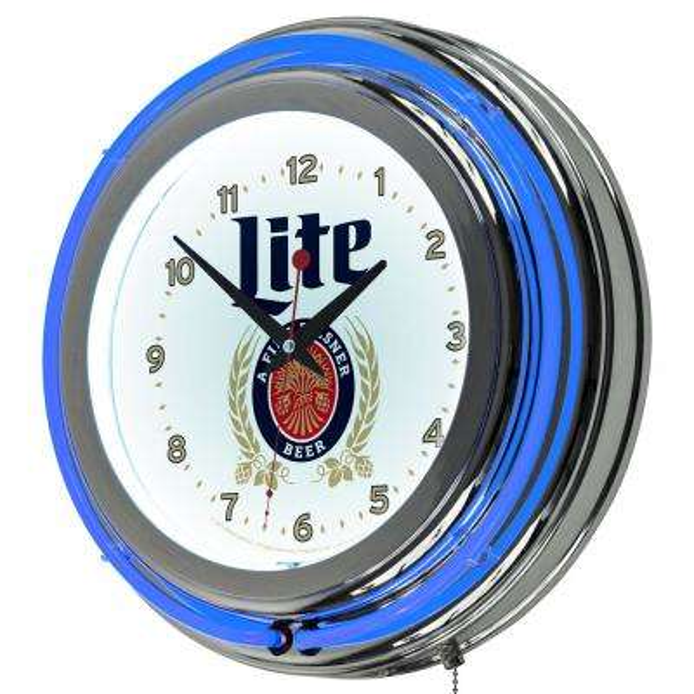Miller Lite Retro Design Chrome Neon Wall Clock