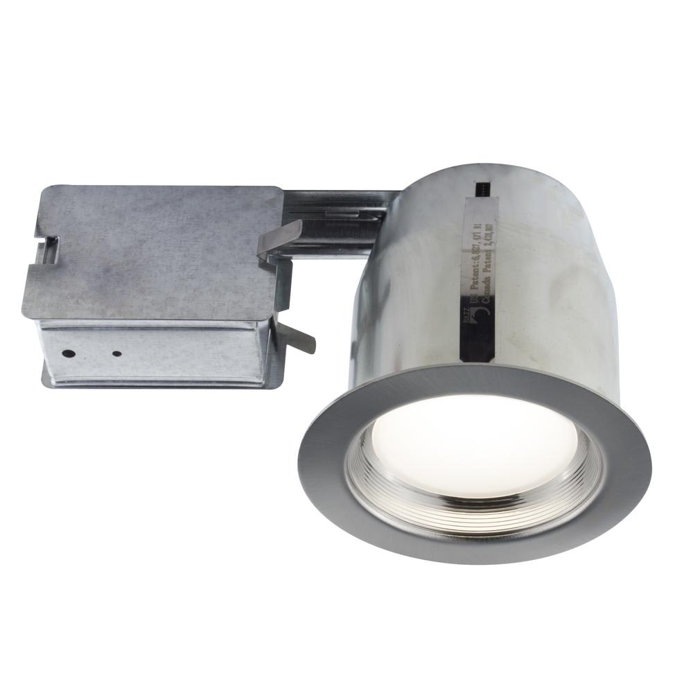 Led Light Fixtures Damp Location: BAZZ 5 In. Brushed Chrome Intergrated LED Recessed Fixture