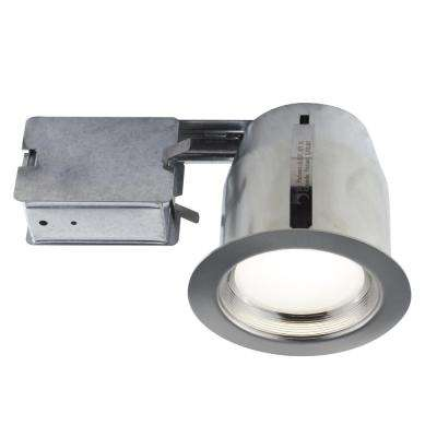 5 in. Brushed Chrome Integrated LED Recessed Fixture Kit for Damp Locations