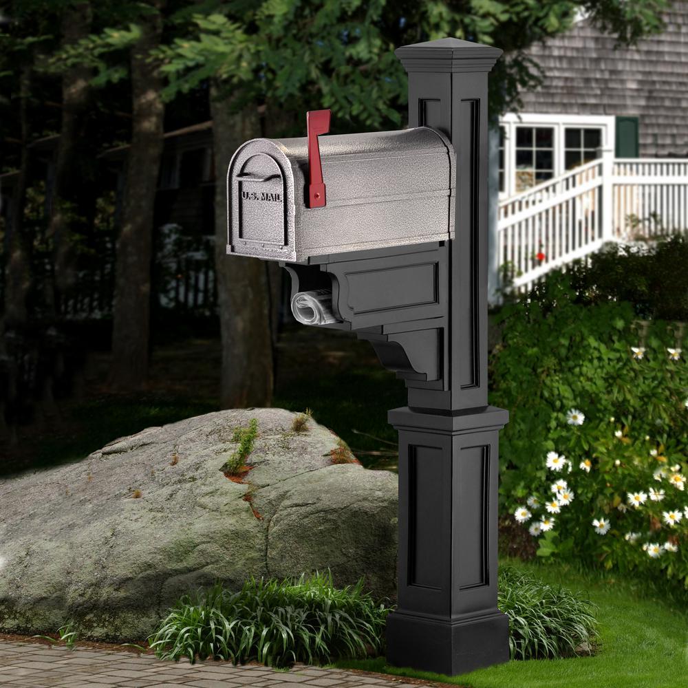 Dover Plastic Mailbox Post, Black