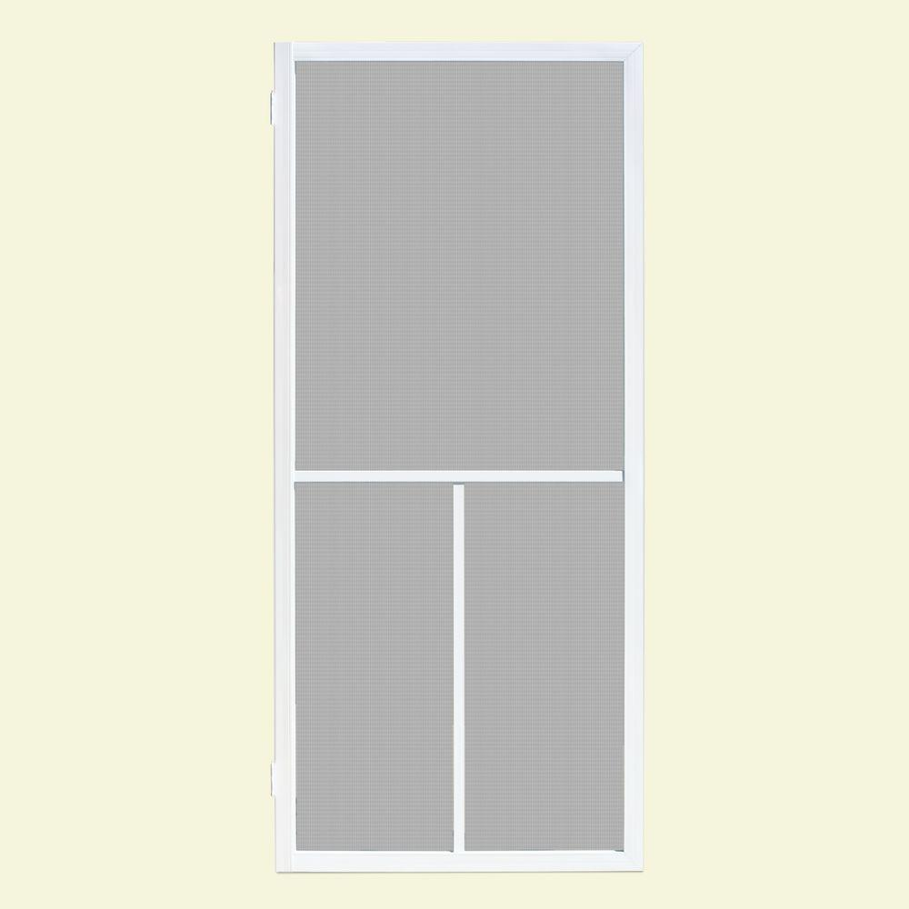 Unique Home Designs 36 in. x 80 in. Ventura White Outswing Metal Hinged Screen Door