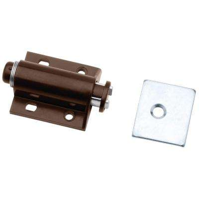 2 in. Brown Spring-Loaded Single Magnetic Touch Catch with Strike