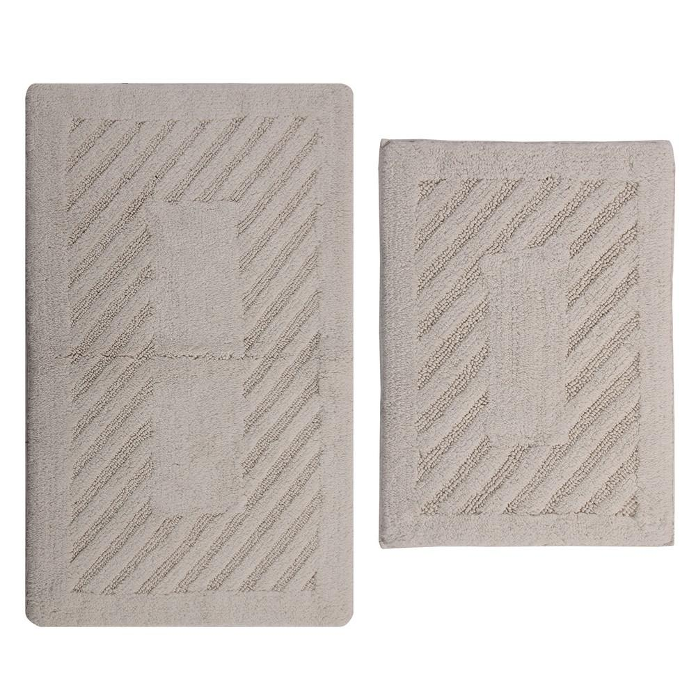 Ivory 17 In. X 24 In. And 21 In. X 34 In. Diagonal Racetrack Reversible Bath Rug Set (2 Piece)