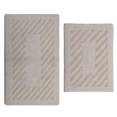 Ivory 17 in. x 24 in. and 21 in. x 34 in. Diagonal Racetrack Reversible Bath Rug Set (2-Piece)