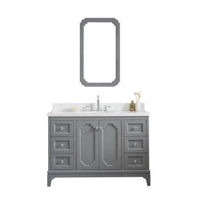 Queen 48 in. Cashmere Grey With Quartz Carrara Vanity Top With Ceramics White Basins and Mirror and Faucet