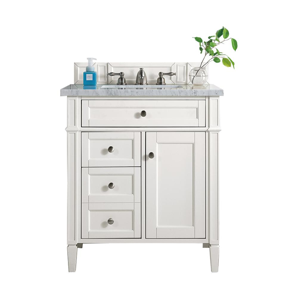 James Martin Vanities Brittany 30 in. W Single Vanity in Cottage White with Soild Surface Vanity Top in Arctic Fall with White Basin