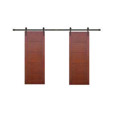 60 in. x 80 in. 5-Panel Prefinished Flush Mahogany Wood Barn Door with Bronze Sliding Door Hardware Kit