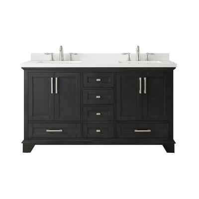 Densbury 60 in. W x 22 in. D Bath Vanity in Iron Grey with Cultured Stone Vanity Top in White with White Basins