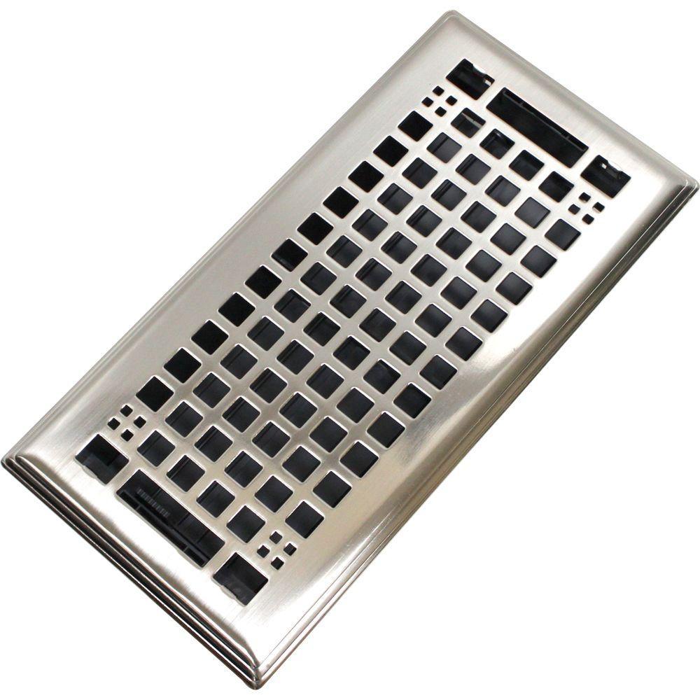 Egg Crate 3 in. x 10 in. Steel Floor Register in Brushed Nickel