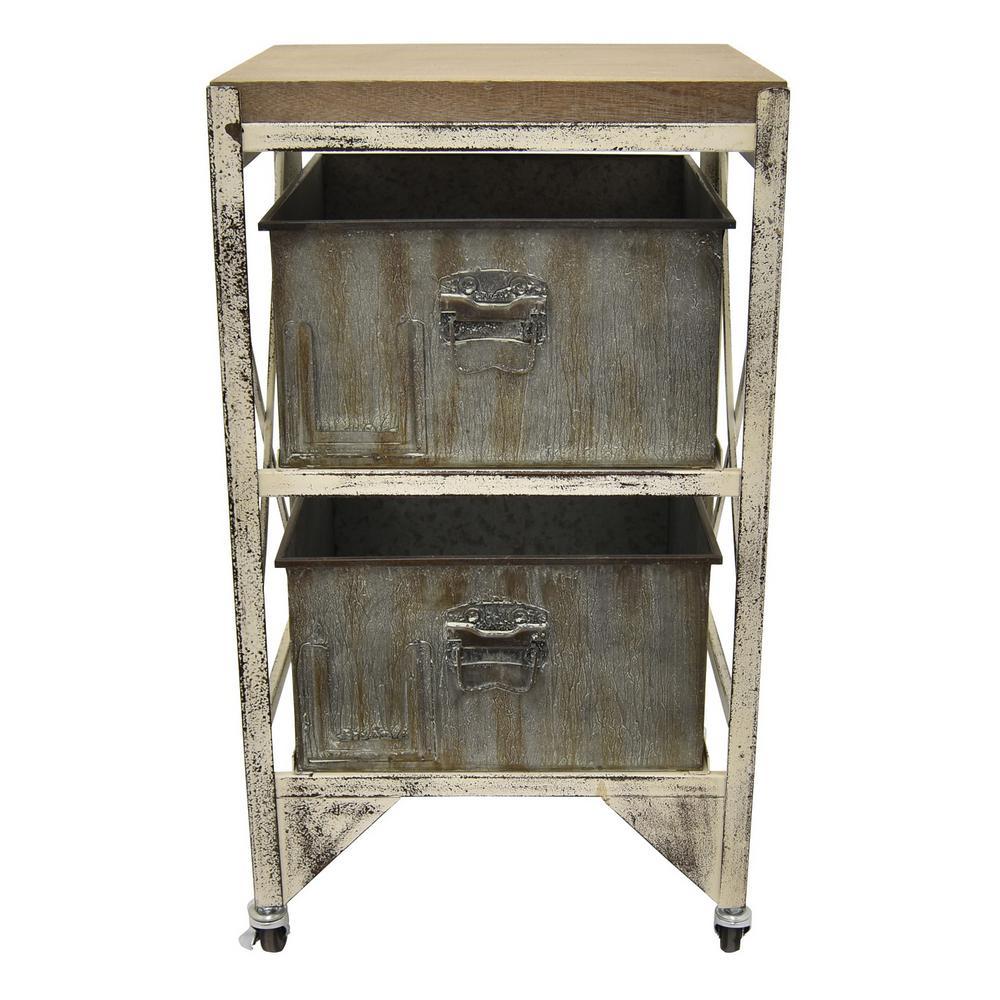 27 75 In Metal Wood Cabinet Gray