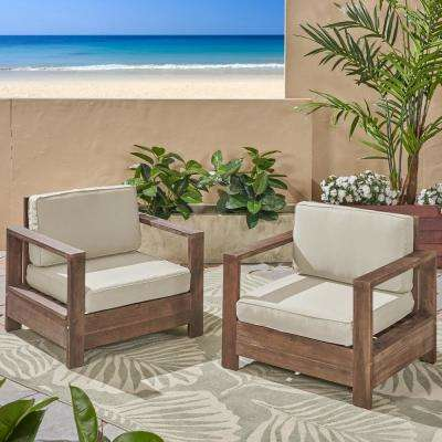 Devon Brushed Brown Wood Outdoor Lounge Chairs with Light Beige Cushions (2-Pack)