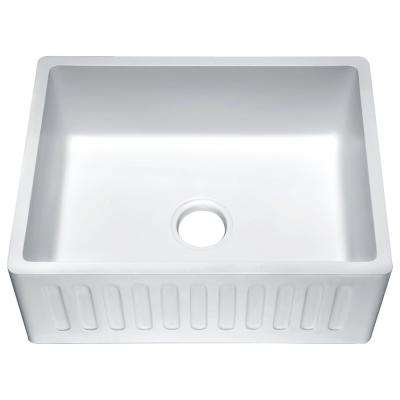 Roine Farmhouse Engineered Stone 24 in. Single Bowl Kitchen Sink in Glossy White