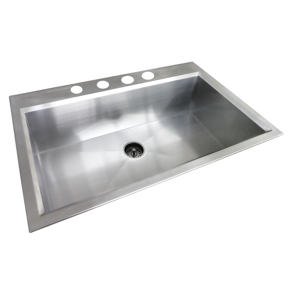 Genial 4 Hole Single Bowl Kitchen Sink In Satin