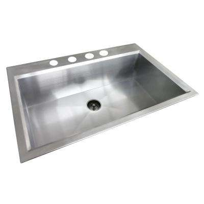 Dual Mount Stainless Steel 33 in. 4-Hole Single Basin Kitchen Sink in Satin Finish