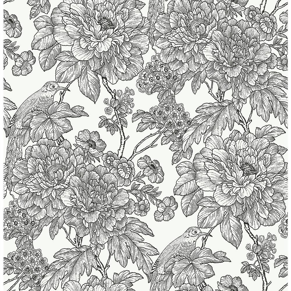 Black and White Sudbury Peel and Stick Wallpaper 30.75 sq. ft.