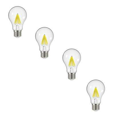 60-Watt Equivalent A19 Dimmable Energy Star Clear Filament Vintage Style LED Light Bulb Daylight (4-Pack)