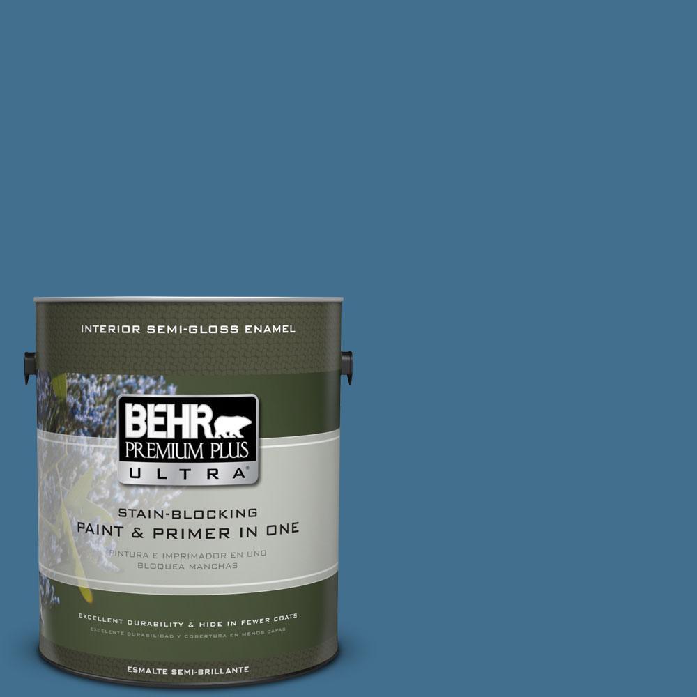 BEHR Premium Plus Ultra 1-gal. #M500-5 Sojourn Blue Semi-Gloss Enamel Interior Paint