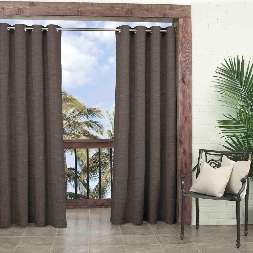Parasol Key Largo Indoor/Outdoor Window Curtain Panel in Smoke - 52 in. W x 95 in. L