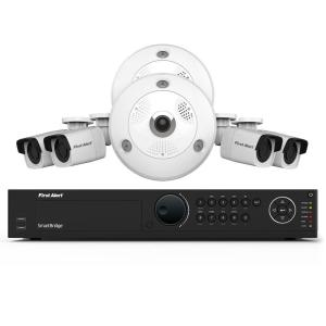 First Alert 16-Channel HD 4TB Surveillance NVR with (2) 3MP Cameras and (4) Indoor/Outdoor 1080p Bullet... by First Alert