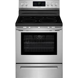 Click here to buy Frigidaire 5.4 cu. ft. Electric Range with Self-Cleaning QuickBake Convection Oven in Stainless Steel by Frigidaire.