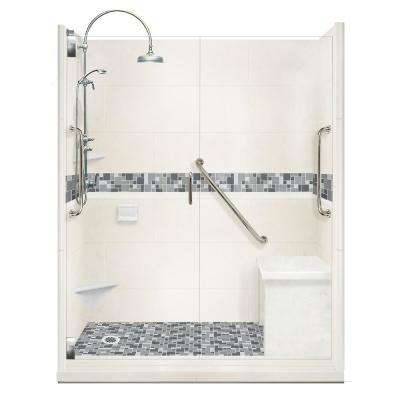 Newport Freedom Luxe Hinged 32 in. x 60 in. Left Drain Alcove Shower in Natural Buff and Satin Nickel Faucet/Hardware