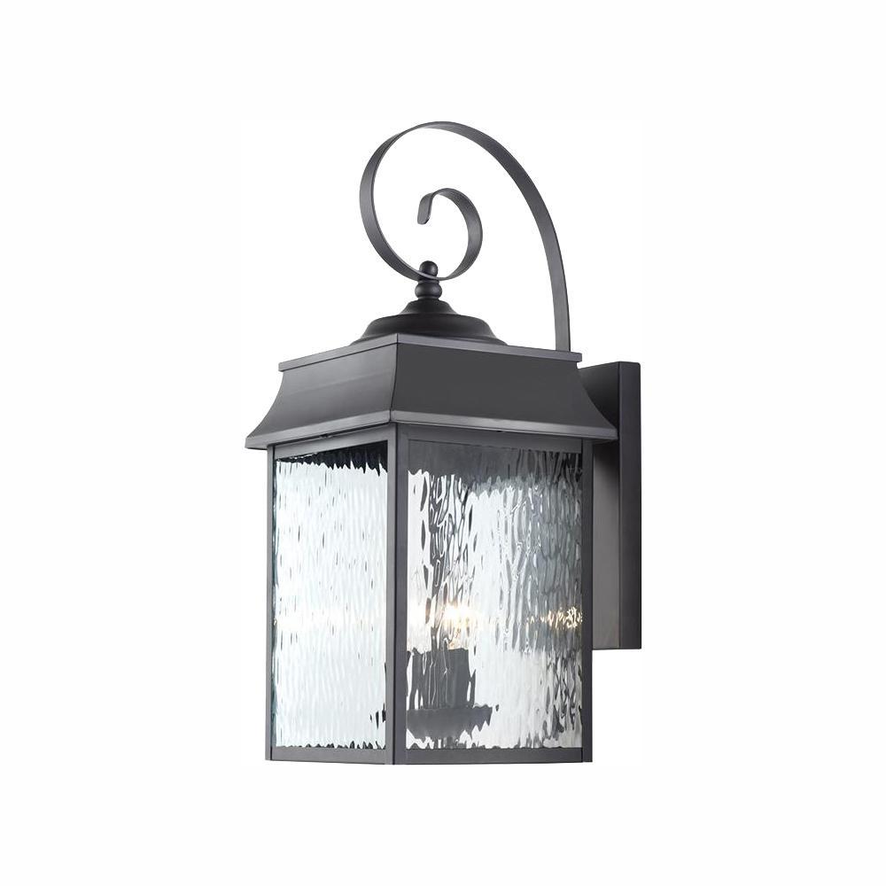 Scroll 2-Light Black Outdoor Wall Lantern Sconce