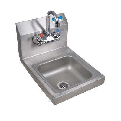 Space Saver Wall Mount Hand Sink Bowl with Drain 4 in. OC Splash Mount Faucet in Stainless Steel