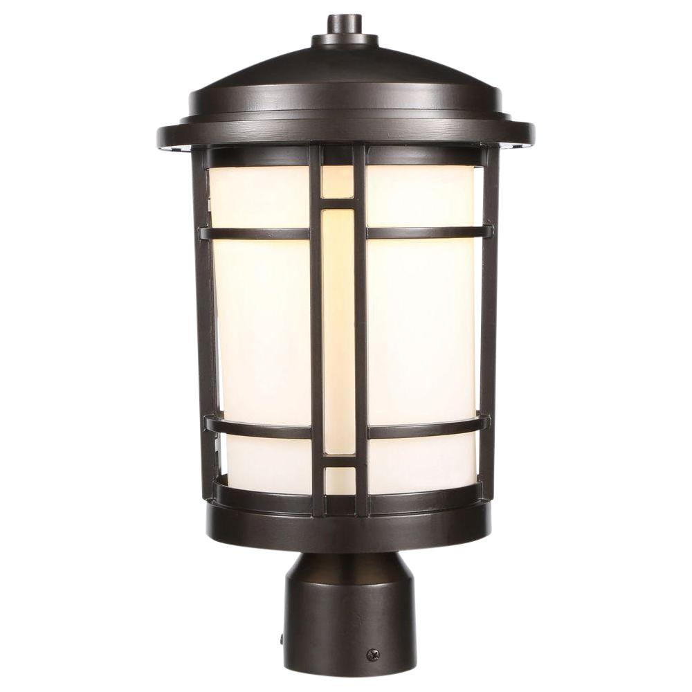 World Imports 9 In Burnished Bronze Outdoor Led Post Light With White Opal Gl