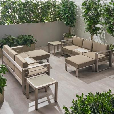 Cape Coral Silver 6-Piece Aluminum Patio Conversation Sectional Seating Set with Khaki Cushions