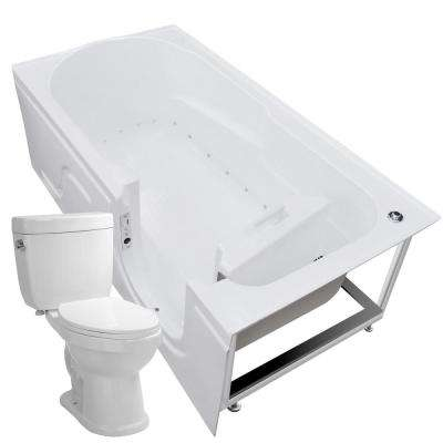 60 in. Walk-In Air Bath Tub in White with 1.6 GPF Single Flush Toilet