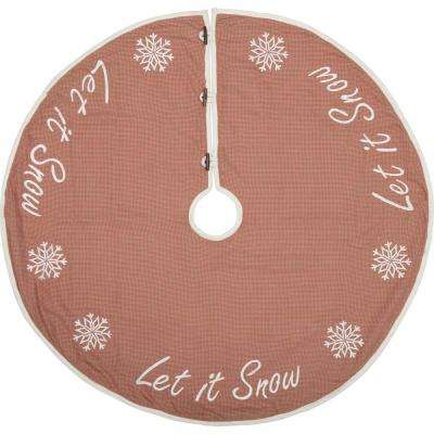 48 in. Let It Snow Apple Red Farmhouse Christmas Decor Tree Skirt
