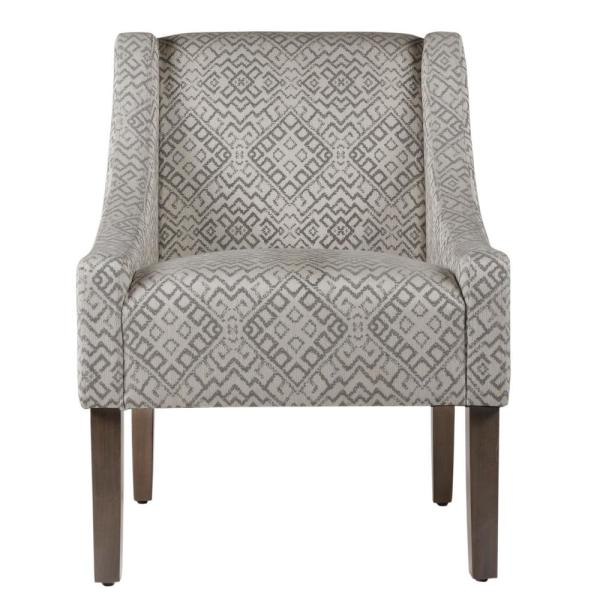Gray Global Print Swoop Accent Chair