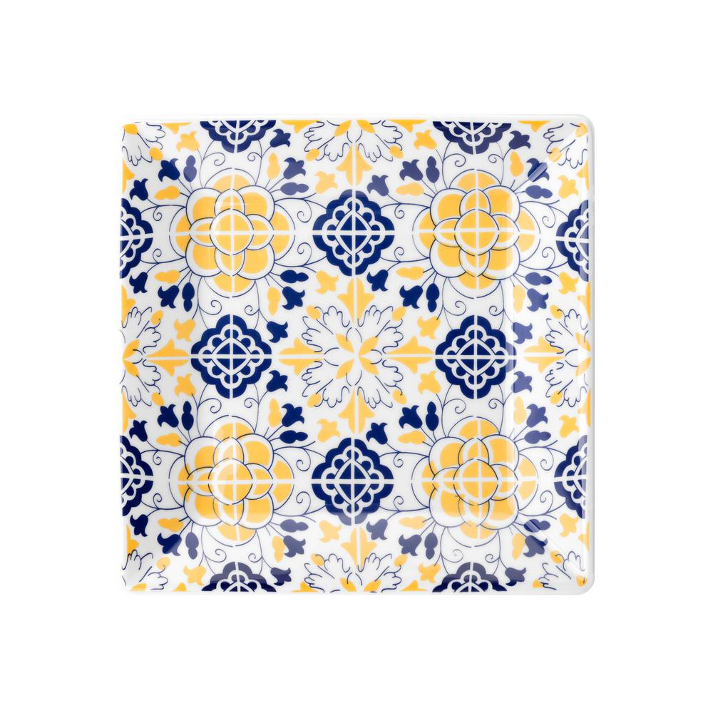 Manhattan Comfort 8.07 in. Quartier Blue and Yellow Square Salad Plate (Set of 6) was $79.99 now $45.81 (43.0% off)